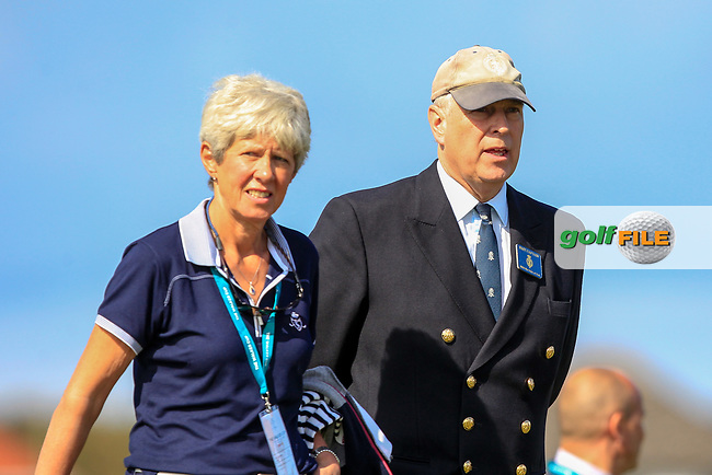 Prince Andrew with Dr. Maureen Richmond (Captain Ladies) Royal Liverpool Golf Club walking up the 2nd during Day 2 Singles at the Walker Cup, Royal Liverpool Golf CLub, Hoylake, Cheshire, England. 08/09/2019.<br /> Picture Thos Caffrey / Golffile.ie<br /> <br /> All photo usage must carry mandatory copyright credit (© Golffile   Thos Caffrey)