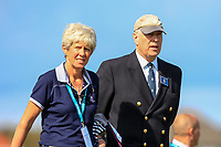 Prince Andrew with Dr. Maureen Richmond (Captain Ladies) Royal Liverpool Golf Club walking up the 2nd during Day 2 Singles at the Walker Cup, Royal Liverpool Golf CLub, Hoylake, Cheshire, England. 08/09/2019.<br /> Picture Thos Caffrey / Golffile.ie<br /> <br /> All photo usage must carry mandatory copyright credit (© Golffile | Thos Caffrey)