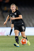 June 7, 2016: ANNALIE LONGO (16) of New Zealand kicks the ball during an international friendly match between the Australian Matildas and the New Zealand Football Ferns as part of the teams' preparation for the Rio Olympic Games at Etihad Stadium, Melbourne. Photo Sydney Low