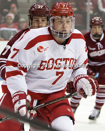 Charlie McAvoy (BU - 7) - The Boston University Terriers defeated the University of Massachusetts Minutemen 3-1 on Friday, February 3, 2017, at Agganis Arena in Boston, Massachusetts.The Boston University Terriers defeated the visiting University of Massachusetts Amherst Minutemen 3-1 on Friday, February 3, 2017, at Agganis Arena in Boston, MA.