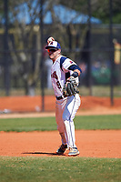 FDU-Florham Devils third baseman Josh DellaPietro (9) throws to first base during the first game of a doubleheader against the Farmingdale State Rams on March 15, 2017 at Lake Myrtle Park in Auburndale, Florida.  Farmingdale defeated FDU-Florham 6-3.  (Mike Janes/Four Seam Images)