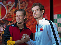 Gent, Belgium, November 26, 2015, Tennis, Davis Cup Final, Belgium-Great Britain, draw ceremonie, second match on friday Ruben Bemelmans (BEL)-Andy Murray (R)<br /> Photo: Tennisimages/Henk Koster