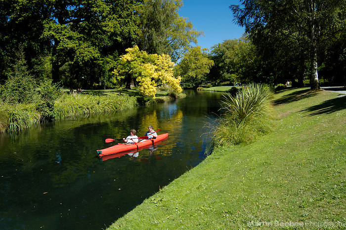 Kayaking down the Avon River through the Christchurch Botanic Gardens, Christchurch, New Zealand