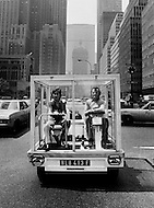 Manhattan, NYC, May, 1970. The French Actress Marlene Jobert visiting Manhattan in a &ldquo;fish tank car&rdquo; designed by Quasar Khanh on a Mini Austin chasis.<br />