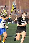 Santa Barbara, CA 02/18/12 - Megan Dawe (UCSB #7) and Elise Becker (Washington #5) in action during the UCSB-Washington matchup at the 2012 Santa Barbara Shootout.  UCSB defeated Washington