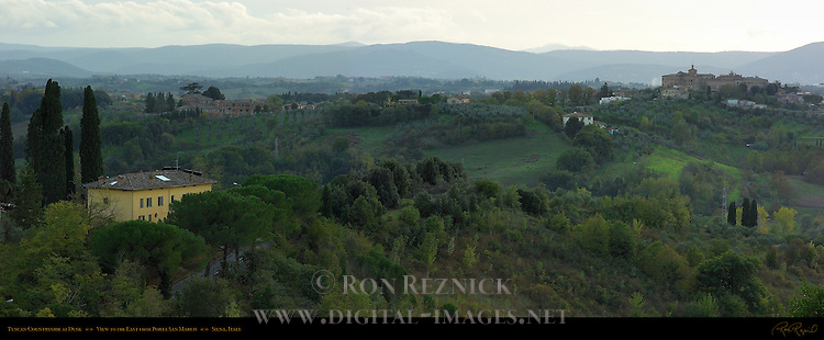 Tuscan Countryside at Dusk, View to the East from Porta San Marco, Siena, Italy