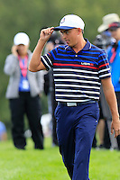 Rickie Fowler US Team makes his way to the 10th tee during Thursday's Practice Day of the 41st RyderCup held at Hazeltine National Golf Club, Chaska, Minnesota, USA. 29th September 2016.<br /> Picture: Eoin Clarke | Golffile<br /> <br /> <br /> All photos usage must carry mandatory copyright credit (&copy; Golffile | Eoin Clarke)