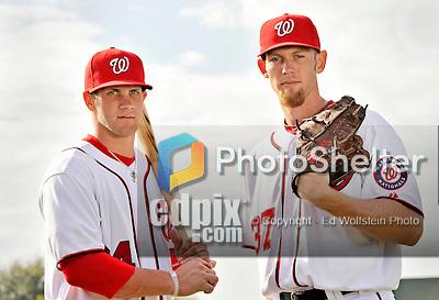 25 February 2011: Washington Nationals' top draft picks Bryce Harper and Stephen Strasburg pose for a Photo Day image at Space Coast Stadium in Viera, Florida. Mandatory Credit: Ed Wolfstein Photo