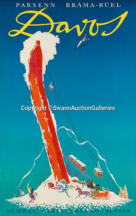 BNPS.co.uk (01202)558833Pic:  SwannAuctionGalleries/BNPS<br /> <br /> Davos<br /> <br /> A stunning collection of vintage ski posters depicting the halcyon days of European winter holidays has emerged for sale for £70,000. ($90,000)<br /> <br /> The superb selection features early lithograph prints of advertising posters for glamorous resorts including Davos and Chamonix.<br /> <br /> The earliest posters in the sale date from the turn of the 20th century, with the most recent examples from the 1950s.<br /> <br /> Sixty-two posters, which range in value from a few hundred pounds to £5,000, are being sold by Swann Galleries, who are based in New York.