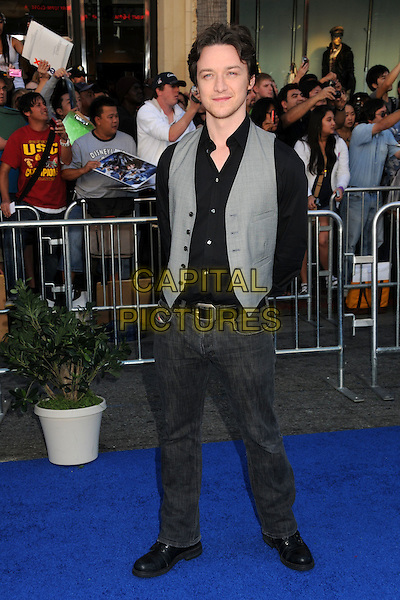 "JAMES McAVOY .Attending the ""Gnomeo and Juliet"" World Premiere held at the El Capitan Theatre, Hollywood, California, USA, .23rd January 2011..& arrivals full length black shirt grey gray waistcoat jeans belt   .CAP/ADM/BP.©Byron Purvis/AdMedia/Capital Pictures."