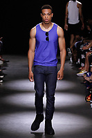Model walks runway in an outfit from the Grungy Gentleman Spring Summer 2018 collection by Jace Epstein in the Dream Downtown hotel on July 13, 2017; during New York Fashion Week: Men's Spring Summer 2018.