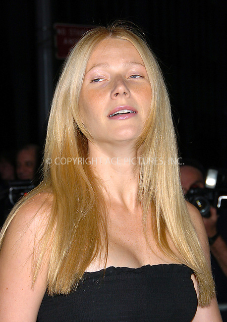 Gwyneth Paltrow arrives at the premiere of 'Anchorman.' New York, July 7, 2004. Please byline: AJ SOKALNER/ACEPIXS.COM.   .. *** ***..All Celebrity Entertainment, Inc:  ..contact: Alecsey Boldeskul (646) 267-6913 ..Philip Vaughan (646) 769-0430..e-mail: info@nyphotopress.com