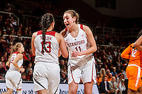 Stanford, CA - Saturday December 16, 2015:Marta Sniezek and Alanna Smith during the Stanford vs Tennessee basketball game Wednesday night at Maples.<br /> <br /> The Cardinal defeated the Volunteers 69-55.<br /> .