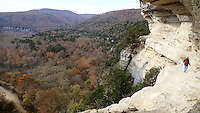 NWA Democrat-Gazette/FLIP PUTTHOFF <br /> Long views of the Buffalo National River valley unfold Nov. 18 2016 during a hike on the Goat Trail. Thao Nguyen walks along a ledge at Big Bluff, about 300 feet above the river.