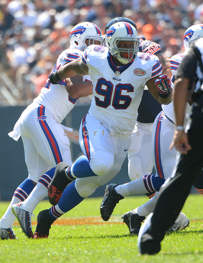 Buffalo Bills Stefan Charles (96) during a game against the Chicago Bears on September 7, 2014 at Soldier Field in Chicago, IL. The Bills beat the Bears 23-20.