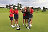 Kristen Gillman, Lilia Vu, Jennifer Kupcho and Team Captain Stasia Collins Team USA being presented with the Espirito Santo Trophy after the final of the World Amateur Team Championships 2018, Carton House, Kildare, Ireland. 01/09/2018.<br /> Picture Fran Caffrey / Golffile.ie<br /> <br /> All photo usage must carry mandatory copyright credit (© Golffile | Fran Caffrey)