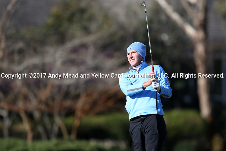 WILMINGTON, NC - MARCH 19: North Carolina's Jose Montano (BOL) tees off on the Ocean Course fourth hole. The first round of the 2017 Seahawk Intercollegiate Men's Golf Tournament was held on March 19, 2017, at the Country Club of Landover Nicklaus Course in Wilmington, NC.