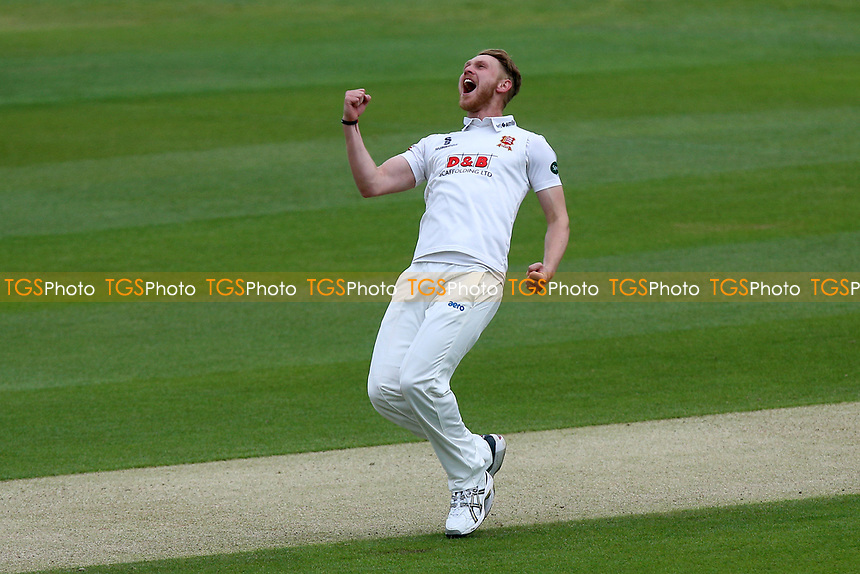 Jamie Porter of Essex celebrates taking the wicket of Liam Dawson during Essex CCC vs Hampshire CCC, Specsavers County Championship Division 1 Cricket at The Cloudfm County Ground on 20th May 2017
