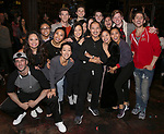 "Cast members making their Broadway debut during The Opening Night Actors' Equity Gypsy Robe Ceremony honoring Catherine Ricafort for the New Broadway Production of  ""Miss Saigon""  at the Broadway Theatre on March 23, 2017 in New York City"