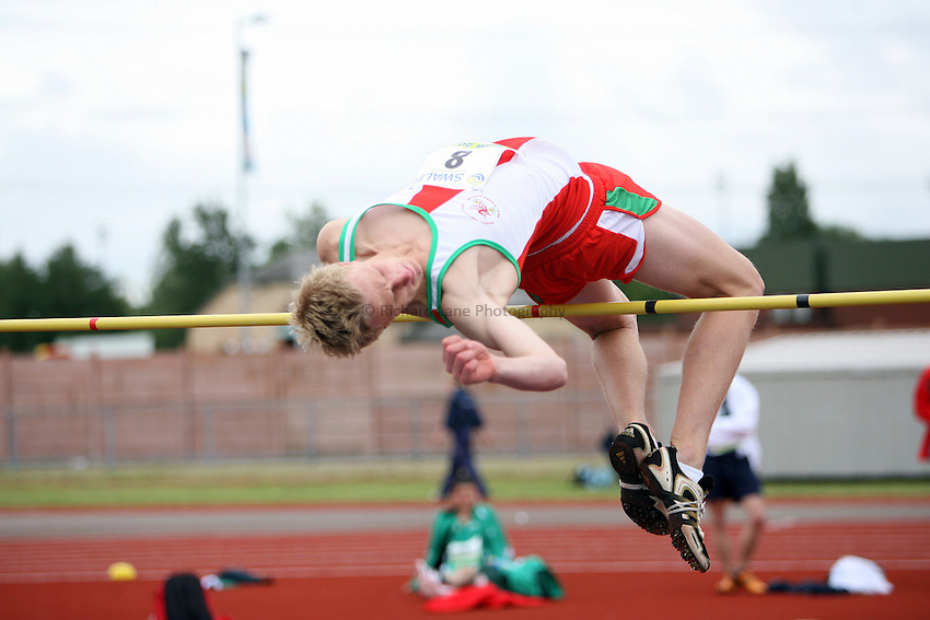 Photo: Rich Eaton...Schools International Athletic Board, Track & Field International Match, Newport. 21/07/2007. Ben John of Wales competes in the boys high jump.