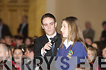 Student Aoife Geaney from Pobailscoil Chorca Dhuibhne proposes a business idea to Jerry Kennelly and James Whelton at the 2011 Blue Sky Day.