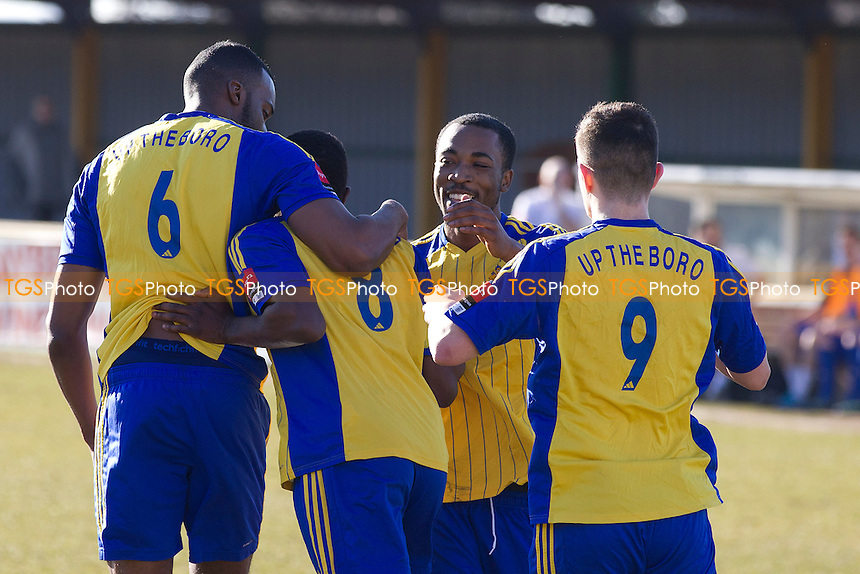 Jermaine Fndlator and team mates congratulate Abs Seymour following his opening goal for Romford Town  - Romford vs Chatham Town - Ryman League Division One North Football at the Thurrock FC, Ship Lane - 07/03/15 - MANDATORY CREDIT: Ray Lawrence/TGSPHOTO - Self billing applies where appropriate - contact@tgsphoto.co.uk - NO UNPAID USE