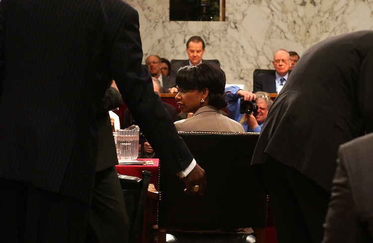 Condoleezza Rice, National Security Advisor, prepares to testify before the 911 Commission, in .Hart Building, Thursday