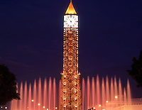 Tunisia. 7th Nov Clock Tower and Fountain illuminated at night. Avenue Habib Bourguiba. Ville Nouvelle (New Town) Tunis.