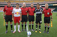 New York Red Bulls midfielder Claudio Reyna, (10) with DC United forward Jaime Moreno (99) and the referees before the game. DC United defeated the New York Red Bulls, 4-2, at RFK Stadium in Washington DC, Sunday, June 10 , 2007.