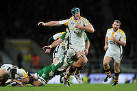 James Gaskell of Wasps takes on the London Irish defence. Aviva Premiership match, between London Irish and Wasps on November 28, 2015 at Twickenham Stadium in London, England. Photo by: Patrick Khachfe / JMP