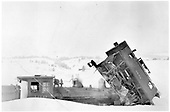 Short caboose #0540 hit by T-12 #169.<br /> D&amp;RG  Cumbres, CO  Taken by Johnson, Danny