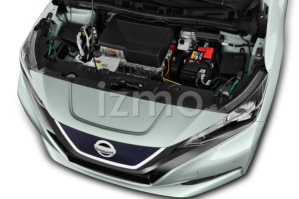 Car stock 2018 Nissan Leaf Tekna 5 Door Hatchback engine high angle detail view
