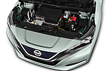 Car stock 2018 Nissan Leaf Tekna 5 Door Hatchback engine high angle detail view