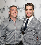 Andy Owens and Travis Nesbitt attend the opening night performance photo call of the Vineyard Theatre's 'Kid Victory' at the Vineyard Theatre on February 22, 2017 in New York City.