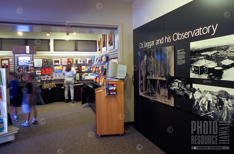 Tourists view displays in the Thomas A. Jaggar Museum at Halemaumau crater within the Hawaii Volcanoes National Park.  The museum provides exhibits on eruption history and legends