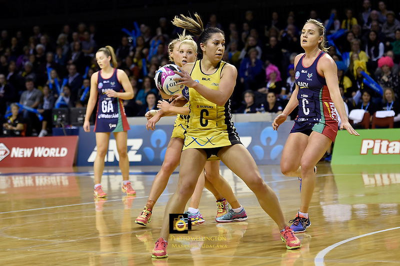Pulse's Samon Nathan in action during the ANZ Championship - Central Pulse v Vixens at TSB Bank Arena, Wellington, New Zealand on Monday 4 July 2016. <br /> Photo by Masanori Udagawa. <br /> www.photowellington.photoshelter.com.