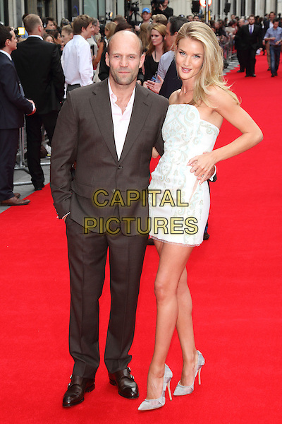 Jason Statham &amp; Rosie Huntington-Whiteley<br /> The UK premiere of &quot;Hummingbird&quot;, Odeon West End, London, England.<br /> 17th June 2013<br /> full length dress white strapless blue grey gray print pink shirt brown suit couple tall short mini<br /> CAP/ROS<br /> &copy;Steve Ross/Capital Pictures