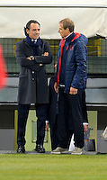Coach Cesare Prandelli (l, ITA) and Coach Juergen Klinsmann (re, USA), before the friendly match Italy against USA at the Stadium Luigi Ferraris at Genoa Italy on february the 29th, 2012.