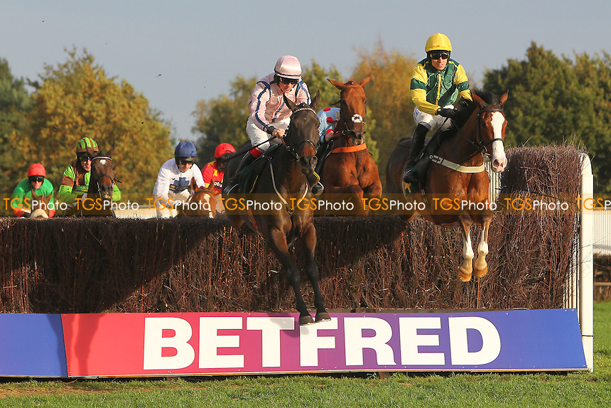 The field in jumping action during the October Handicap Chase - National Hunt Horse Racing at Fakenham Racecourse, Norfolk - 25/10/13 - MANDATORY CREDIT: Gavin Ellis/TGSPHOTO - Self billing applies where appropriate - 0845 094 6026 - contact@tgsphoto.co.uk - NO UNPAID USE