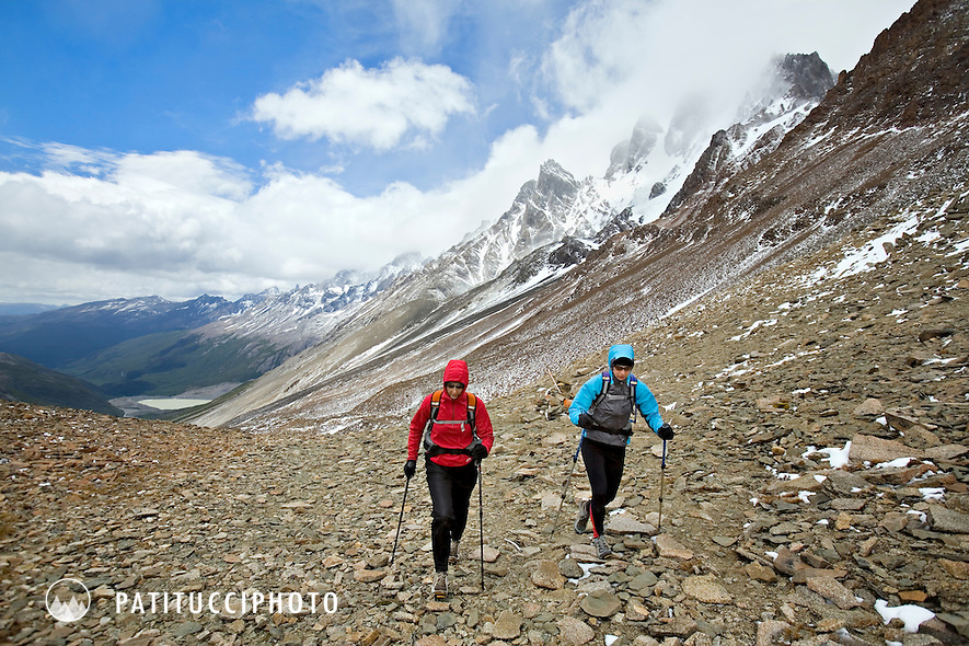 Janine Patitucci and Elinor Fish hiking up the John Gardner Pass while on the Torres del Paine Circuit, one of the world's premier hiking tours in Patagonia, Chile