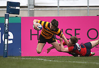 4 March 2013; RBAI winger Iain Jones dives over to score the first RBAI try during the schools cup semi-final clash between RBAI and Ballyclare High School at Ravenhill Belfast. Photo Credit : John Dickson / DICKSONDIGITAL