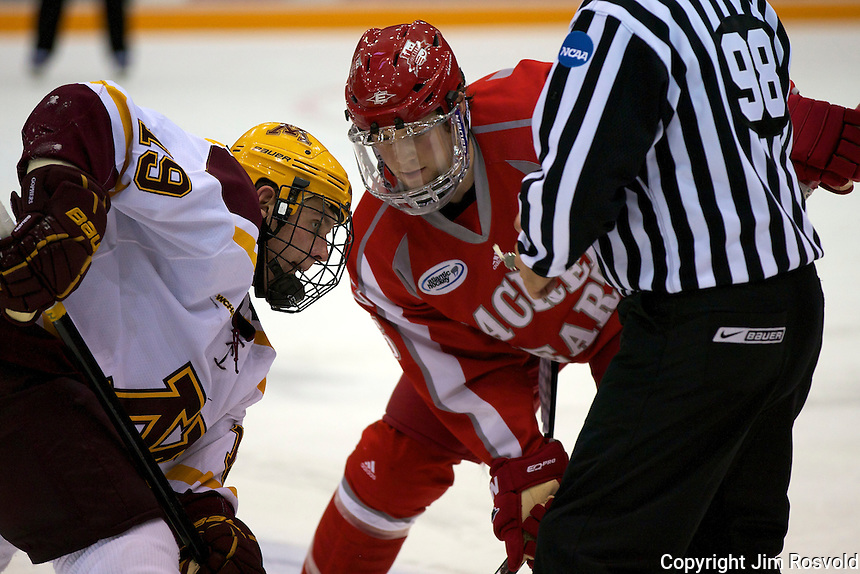 8 Oct 10:  Erik Haula (Minnesota - 19), Drew George (Sacred Heart - 25) The University of Minnesota plays host to Sacred Heart in a non-conference matchup at Mariucci Arena in Minneapolis, MN.