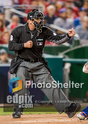 13 October 2016: MLB Umpire Jeff Kellogg calls out strike three during the NLDS Game 5 between the Los Angeles Dodgers and the Washington Nationals at Nationals Park in Washington, DC. The Dodgers edged out the Nationals 4-3, to take Game 5, and the Series, 3 games to 2, moving on to the National League Championship against the Chicago Cubs. Mandatory Credit: Ed Wolfstein Photo *** RAW (NEF) Image File Available ***