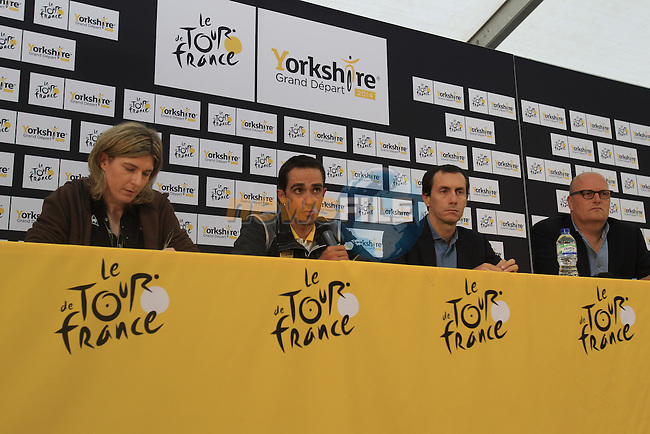 Alberto Contador (ESP) Tinkoff-Saxo press conference before the Grand Depart of the 2014 Tour de France. 4th July 2014.<br /> Picture: Eoin Clarke www.newsfile.ie