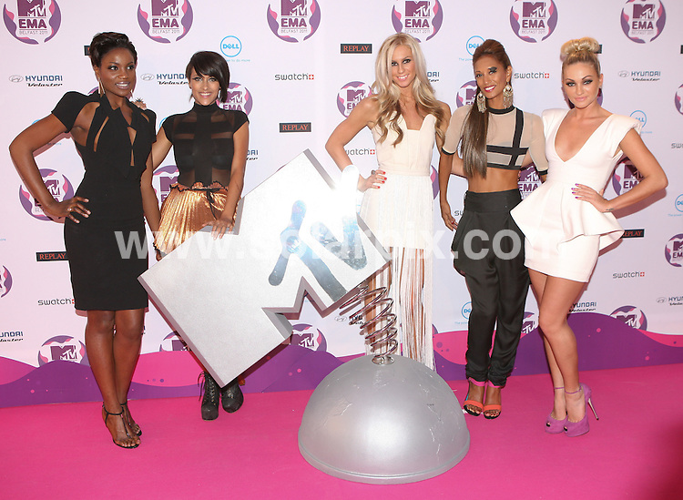 **ALL ROUND PICTURES FROM SOLARPIX.COM**                                             **WORLDWIDE SYNDICATION RIGHTS**                                                                                  MTV EMA Awards 2011_at the Odessey Arena Belfast.This pic:  From Above - Daisy Evans, Ashley Shaw, Chelsey Reynolds, Monique Roberts, Seyi Odedere                                                                  JOB REF:   14157    WMB       DATE:  07.11.11                                                          **MUST CREDIT SOLARPIX.COM OR DOUBLE FEE WILL BE CHARGED**                                                                      **MUST AGREE FEE BEFORE ONLINE USAGE**                               **CALL US ON: +34 952 811 768 or LOW RATE FROM UK 0844 617 7637**