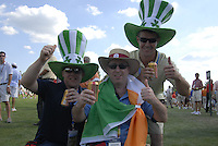 Enthusiastic Irish fans, Alan Maher,  David and Ray Nolan all from Edenderry, during the opening ceremony on Practice Day2 of the Ryder Cup at Valhalla Golf Club, Louisville, Kentucky, USA, 18th September 2008 (Photo by Eoin Clarke/GOLFFILE)