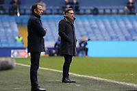 (L-R) Sheffield Wednesday manager Jos Luhukay and Swansea manager Carlos Carvalhal stand on the touch line during The Emirates FA Cup Fifth Round match between Sheffield Wednesday and Swansea City at Hillsborough, Sheffield, England, UK. Saturday 17 February 2018