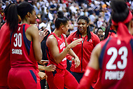 Washington, DC - August 17, 2018: Washington Mystics guard Natasha Cloud (9) is all smiles after hitting the game winning shot with no time remaining on the clock of game between the Washington Mystics and Los Angeles Sparks at the Capital One Arena in Washington, DC. (Photo by Phil Peters/Media Images International)
