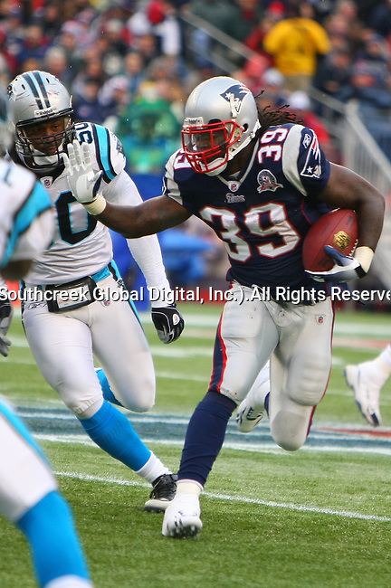 13December2009: New England Patriot running back Laurence Maroney #39 looks for an opening in the Panther defense. The New England Patriots defeated the Carolina Panthers 20-10 at Gillette Stadium in Foxborough, Massachusetts.