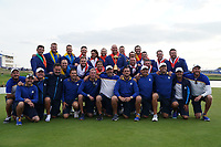 the Winners The European Team after the singles matches at the Ryder Cup, Le Golf National, Ile-de-France, France. 30/09/2018.<br /> Picture Fran Caffrey / Golffile.ie<br /> <br /> All photo usage must carry mandatory copyright credit (© Golffile | Fran Caffrey)